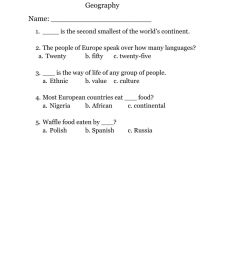 Geography worksheet for Grade 5 [ 1291 x 1000 Pixel ]