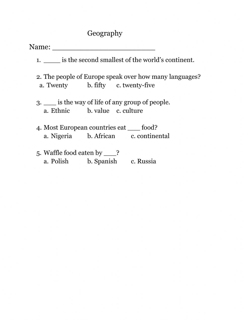 hight resolution of Geography worksheet for Grade 5