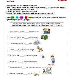 Spelling ow-ou-aw-au-a worksheet [ 1291 x 1000 Pixel ]