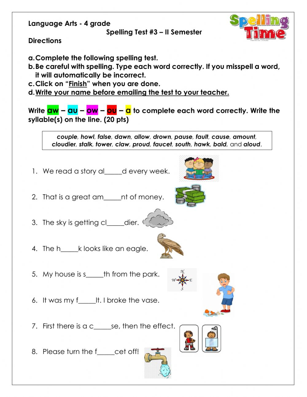 medium resolution of Spelling ow-ou-aw-au-a worksheet