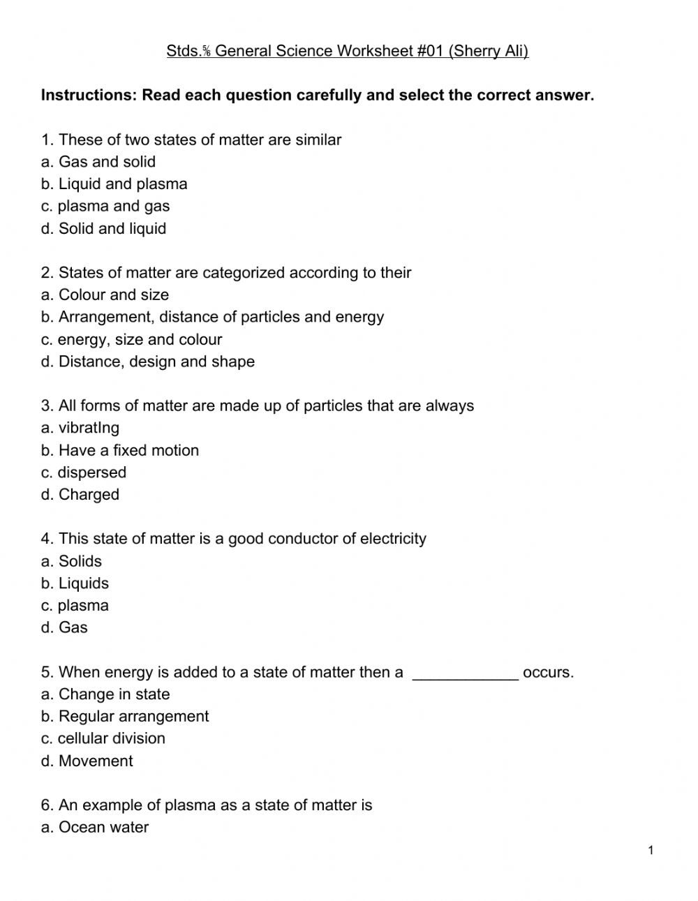 medium resolution of Std. 5-6 General Science worksheet worksheet