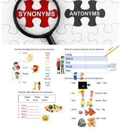 Synonyms and Antonyms worksheet for Kinder [ 1291 x 1000 Pixel ]