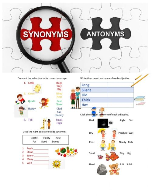 small resolution of Synonyms and Antonyms worksheet for Kinder