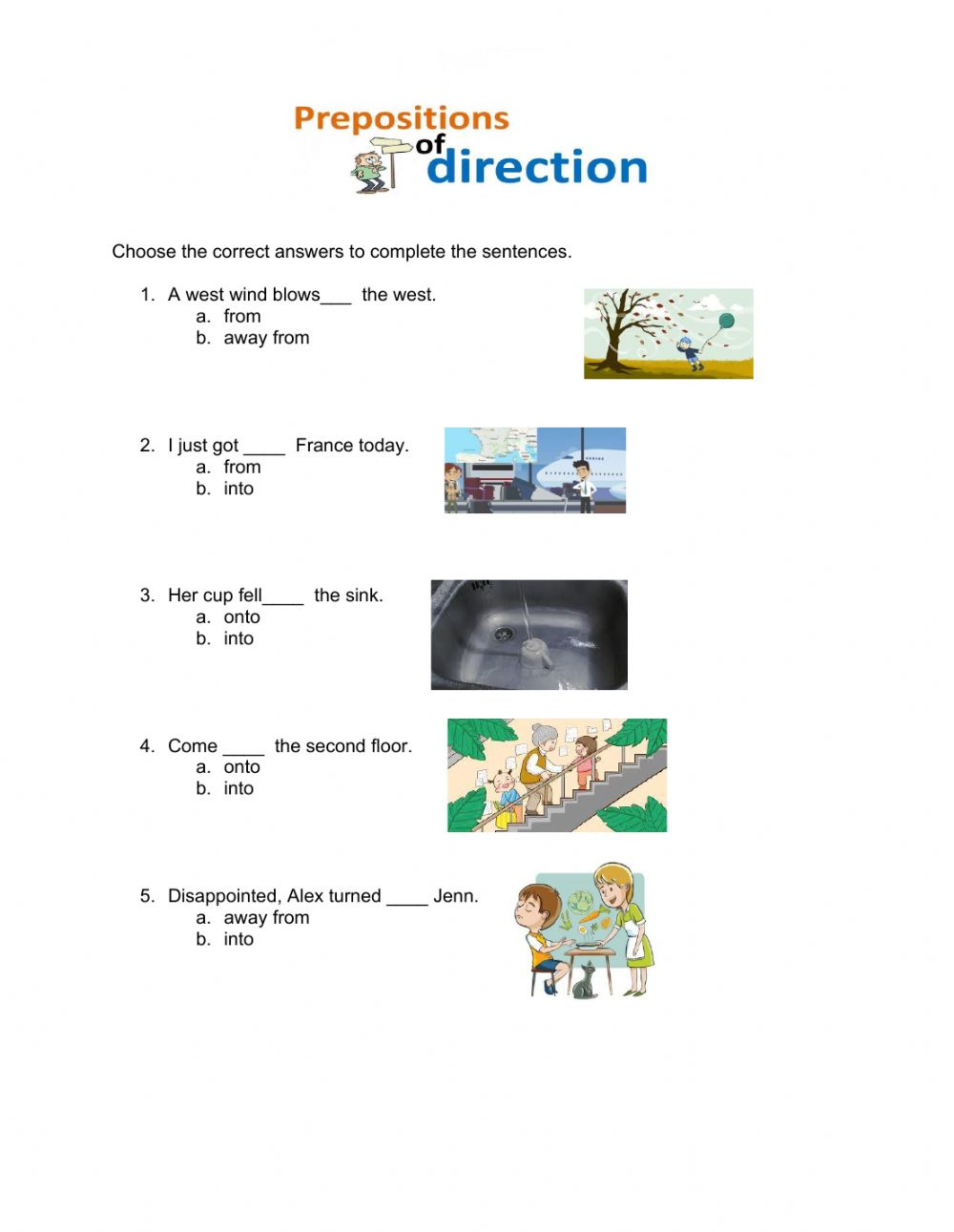 hight resolution of Prepositions of Direction worksheet