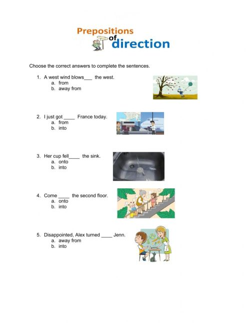 small resolution of Prepositions of Direction worksheet