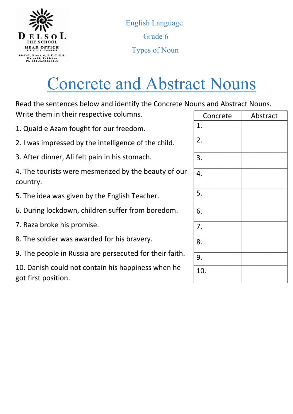 hight resolution of Concrete \u0026 Abstract Nouns worksheet