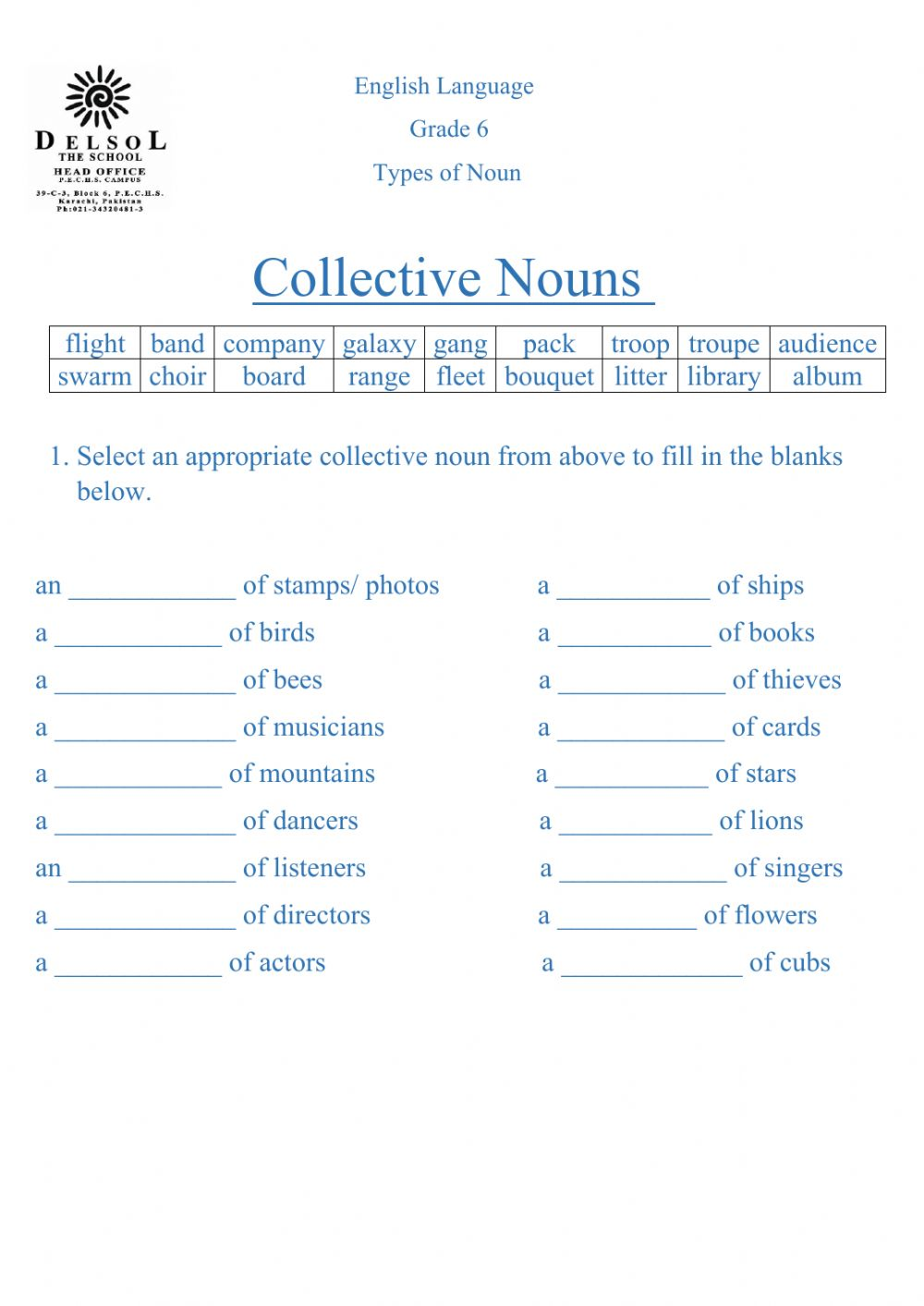 medium resolution of Collective nouns online worksheet for 4-6