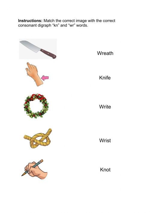 small resolution of Consonant Digraphs -KN- -WR- worksheet