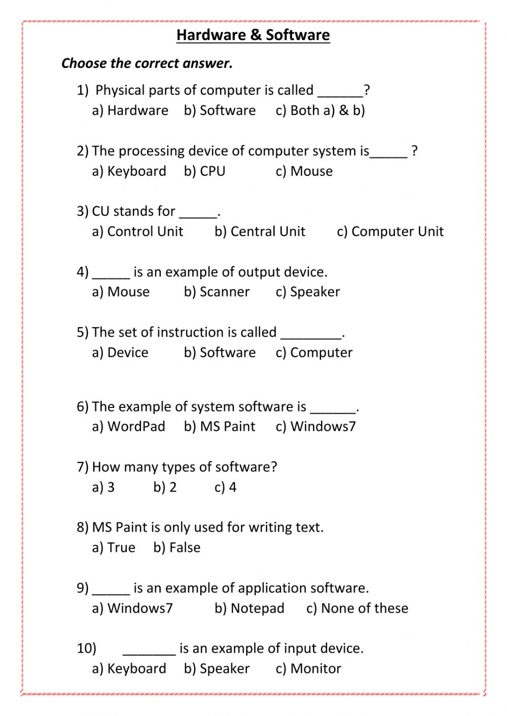 hight resolution of Computer worksheet exercise