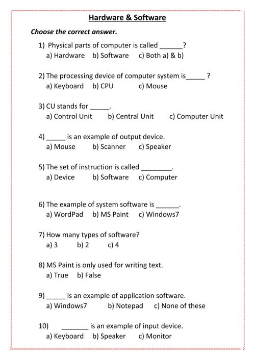 small resolution of Computer worksheet exercise