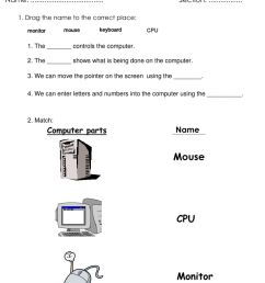 Grade1- parts of a computer worksheet [ 1413 x 1000 Pixel ]