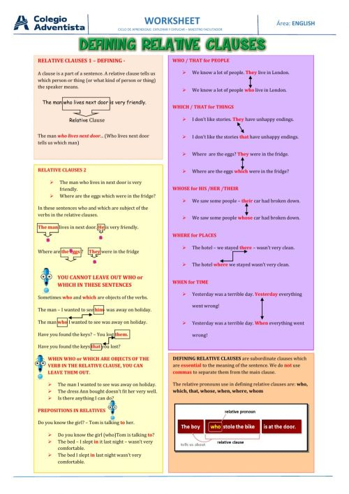 small resolution of Defining relative clauses interactive worksheets