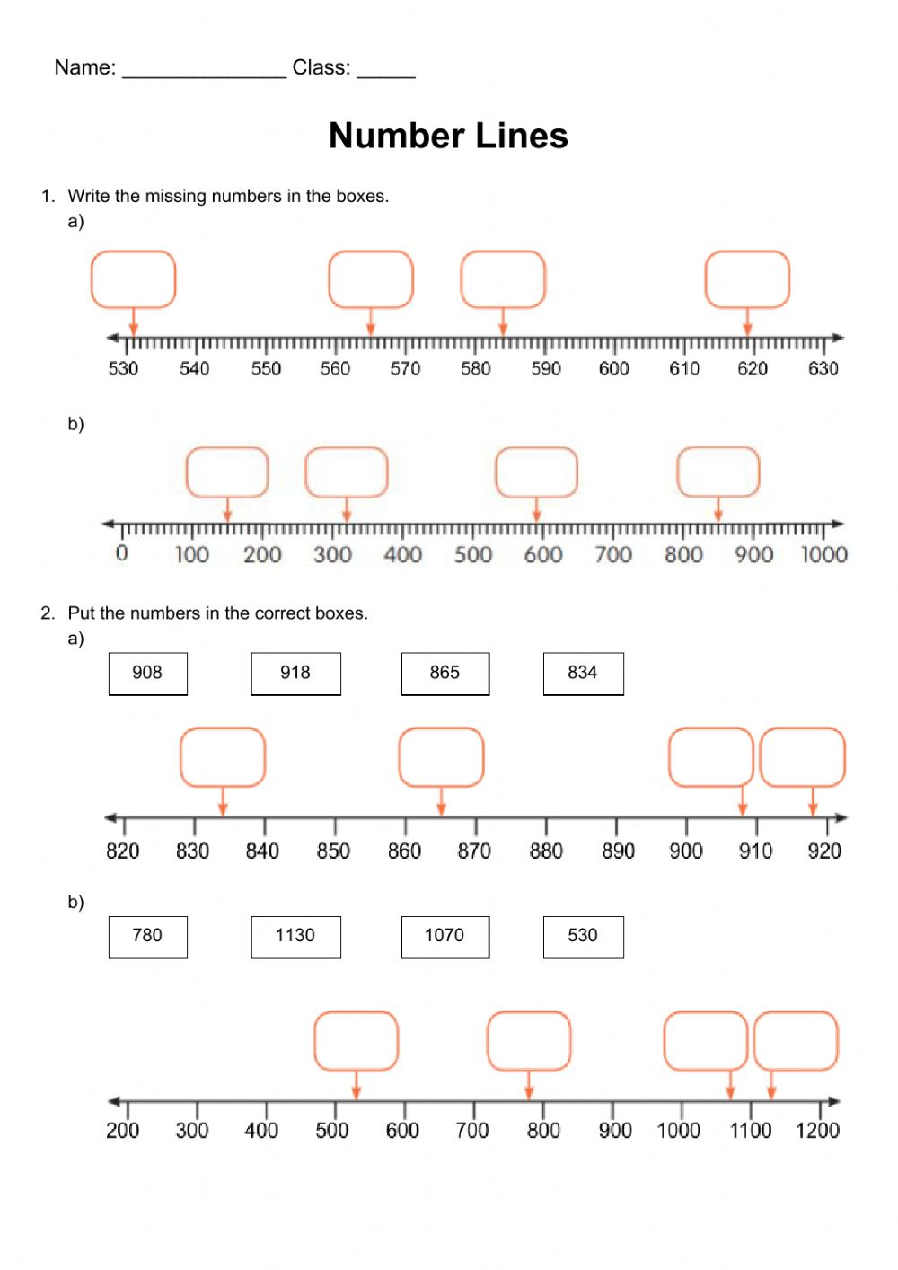 hight resolution of Year 4 - Number line revision worksheet