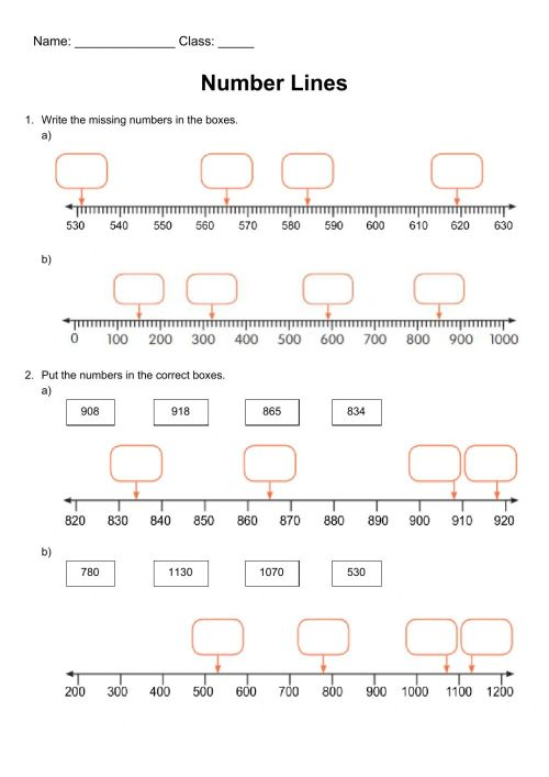 small resolution of Year 4 - Number line revision worksheet
