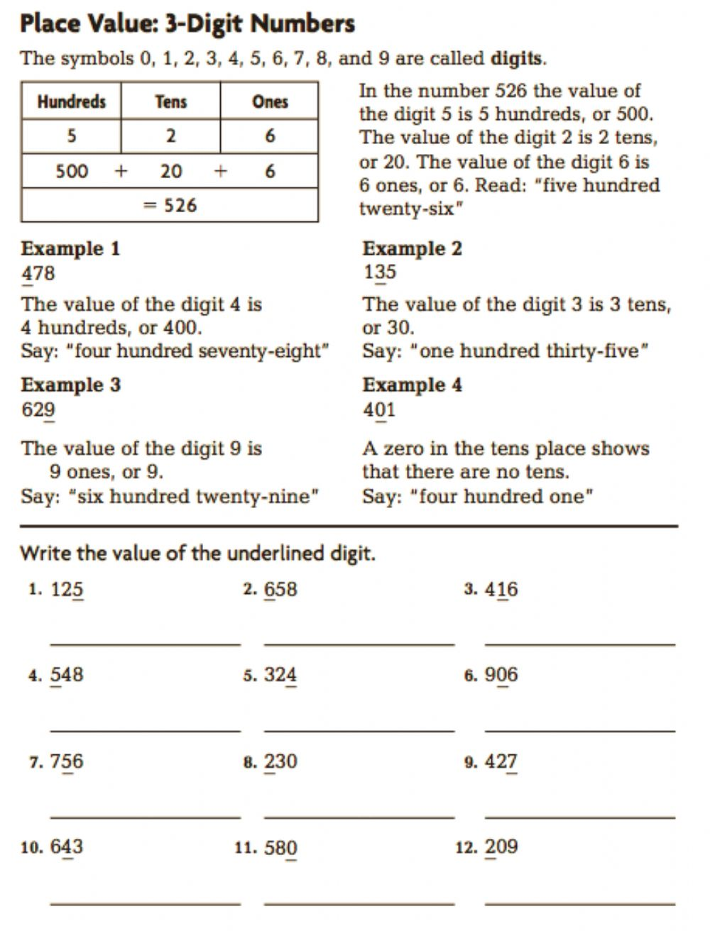 hight resolution of Grade 3 Place Value to hundreds worksheet