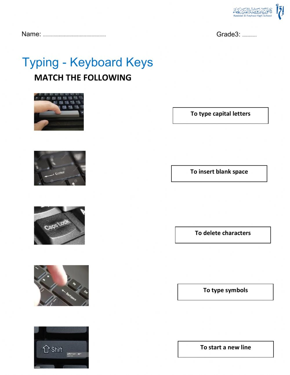 hight resolution of Keyboard special keys worksheet