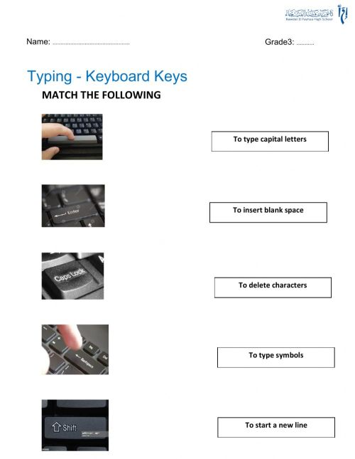 small resolution of Keyboard special keys worksheet