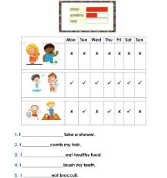 Frequency Adverbs worksheet for 2nd grade [ 1291 x 1000 Pixel ]