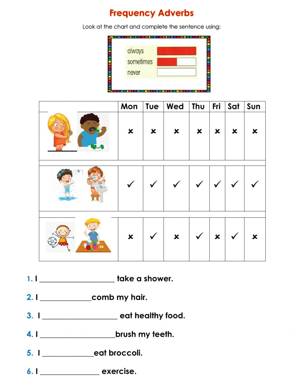 medium resolution of Frequency Adverbs worksheet for 2nd grade