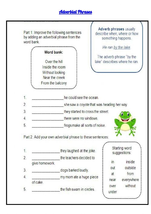 small resolution of Adverbial Phrases interactive worksheet