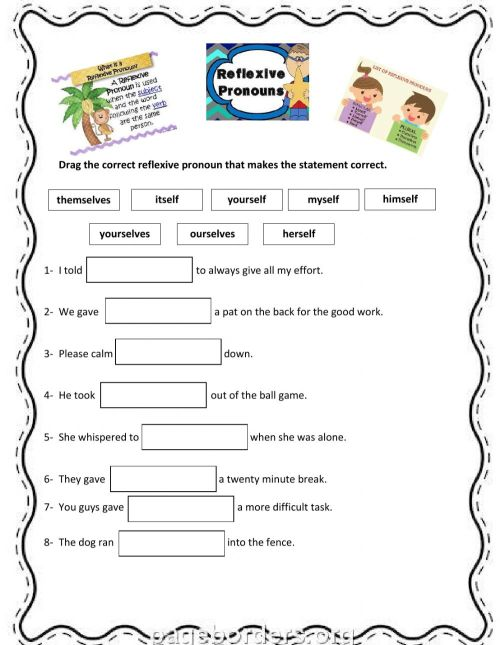 small resolution of Reflexive Pronouns zsciencez worksheet