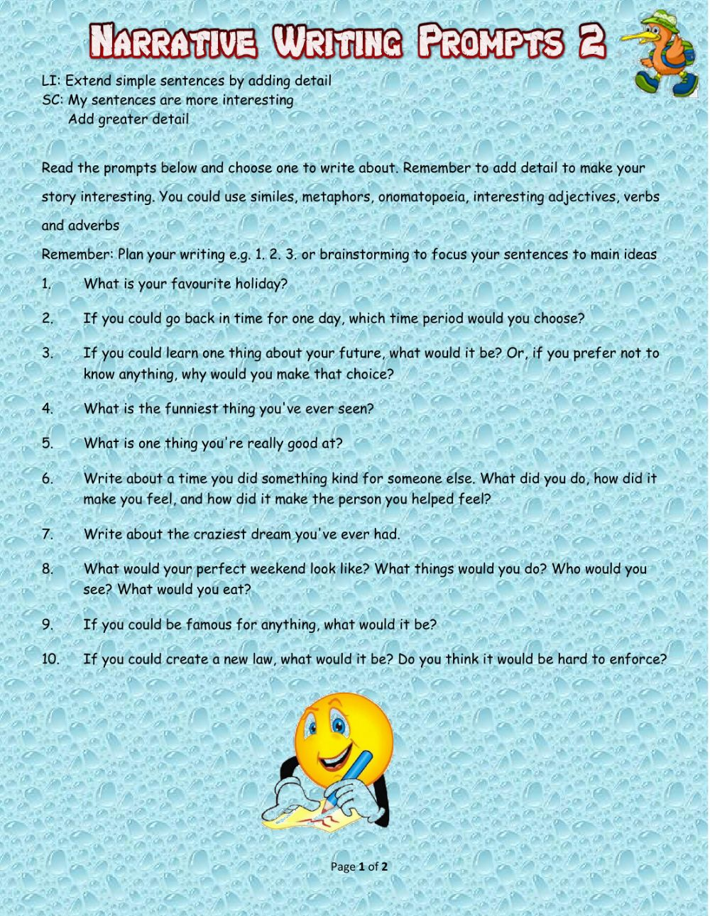 hight resolution of Narrative Writing Prompts 2 worksheet