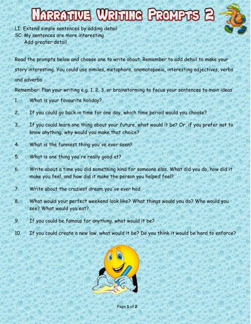 small resolution of Narrative Writing Prompts 2 worksheet