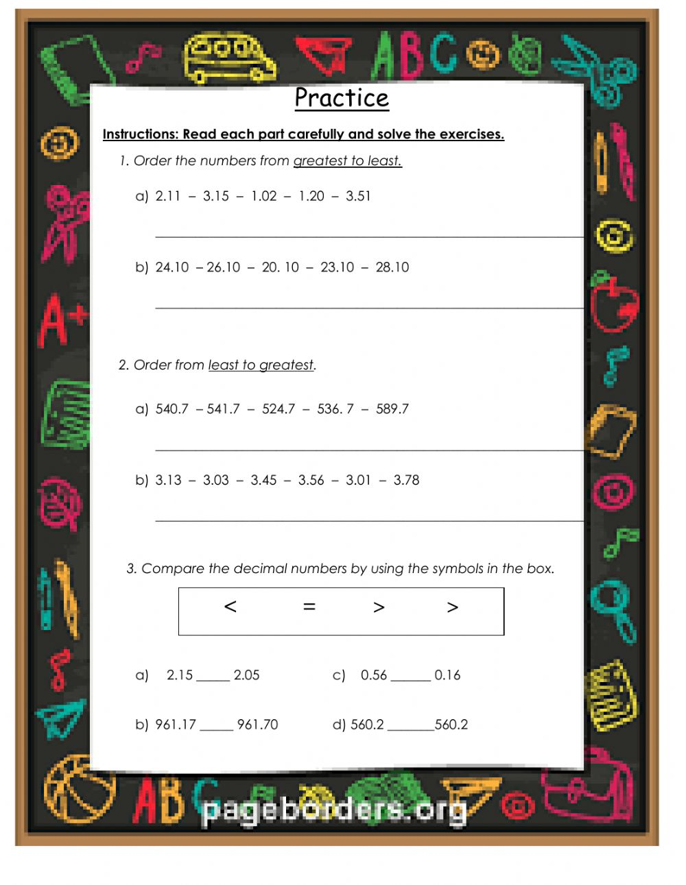 hight resolution of Ordering and comparing decimals worksheet