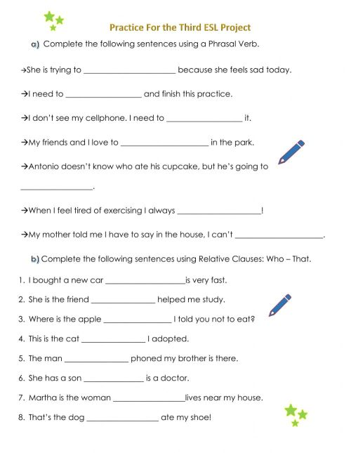 small resolution of Relative Clauses- Phrasal Verbs worksheet