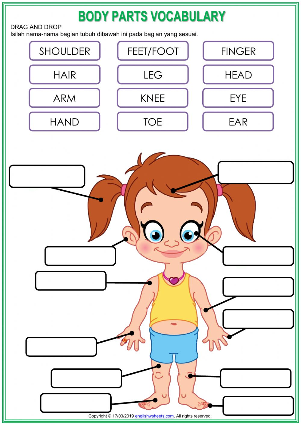 Parts of Our Body - Interactive worksheet