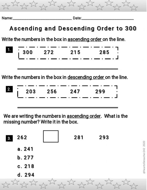 small resolution of Ascending and Descending Order to 300 worksheet