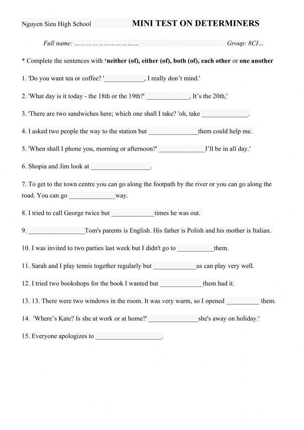 hight resolution of Determiners worksheet for 8