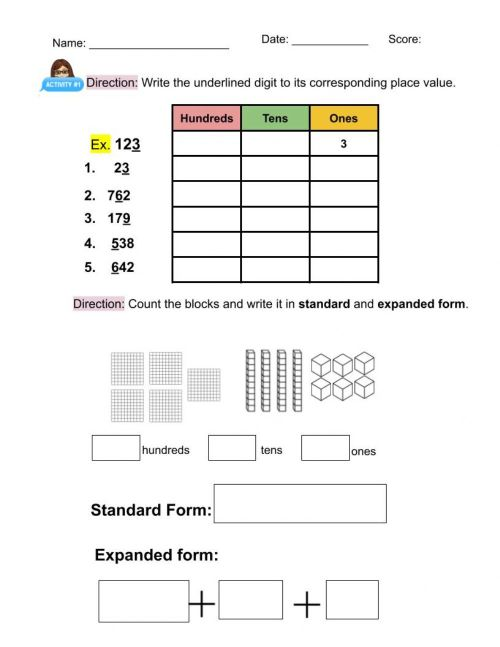 small resolution of Place value worksheet for GRADE 2