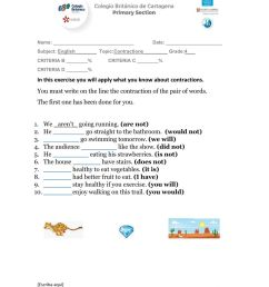 Contractions interactive worksheet for 4TH [ 1291 x 1000 Pixel ]