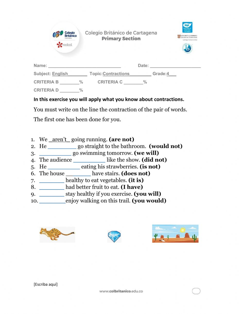 medium resolution of Contractions interactive worksheet for 4TH