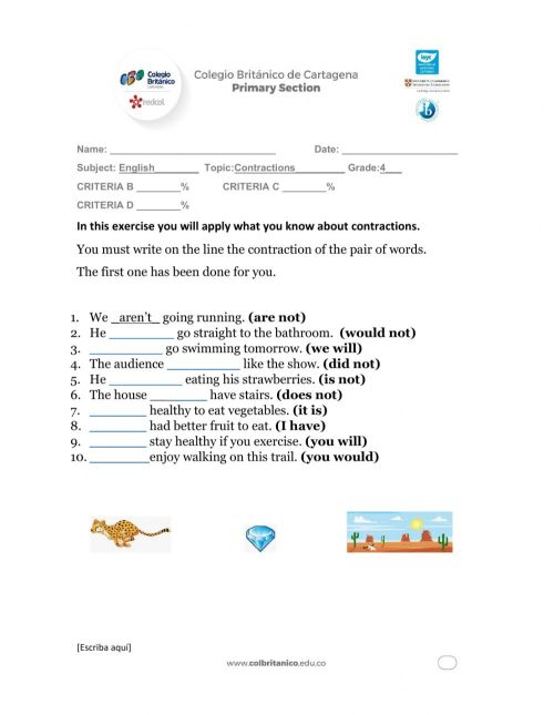 small resolution of Contractions interactive worksheet for 4TH