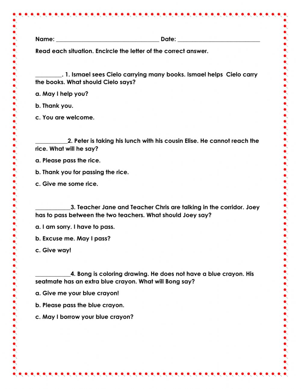 hight resolution of Polite expressions worksheet