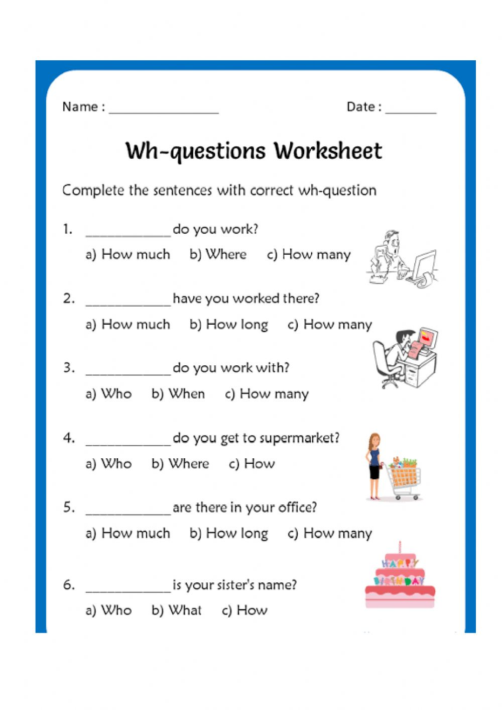 hight resolution of WH Questions interactive activity for Grade 2