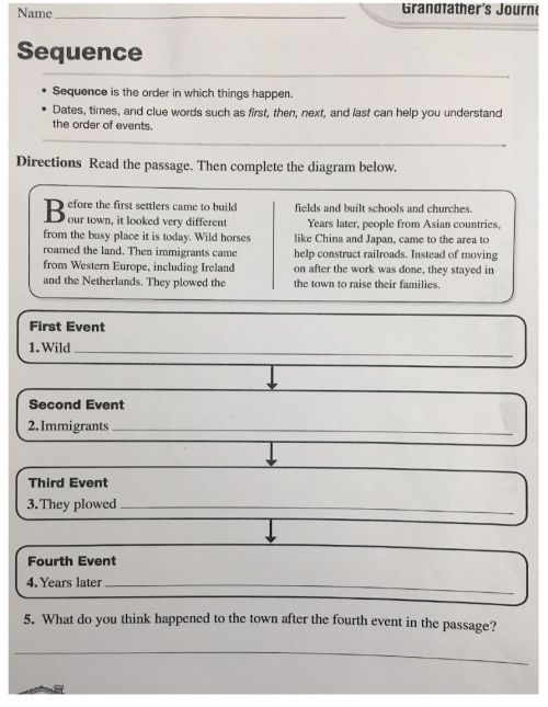 small resolution of Sequence 4th grade worksheet