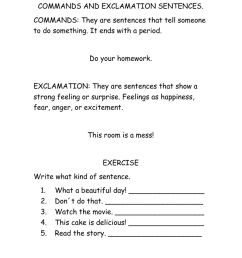 Commands and exclamatory sentences worksheet [ 1291 x 1000 Pixel ]