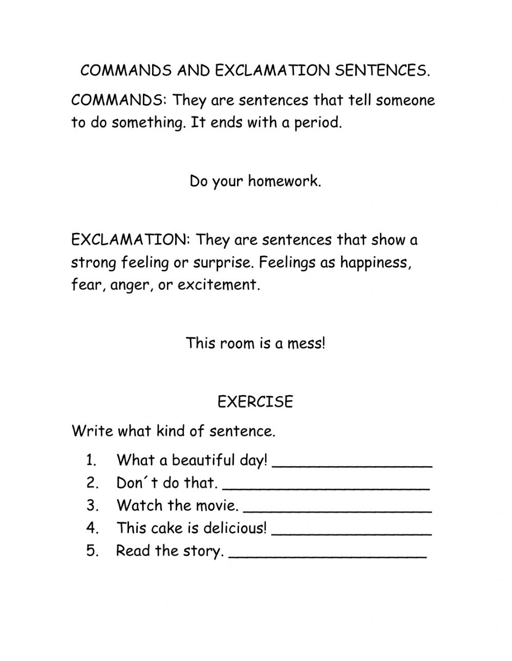 medium resolution of Commands and exclamatory sentences worksheet
