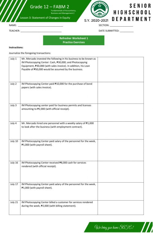 small resolution of Journal Entries worksheet