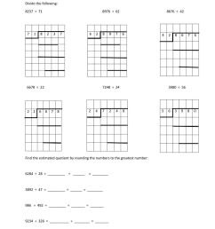 Long division and estimated quotient worksheet [ 1291 x 1000 Pixel ]