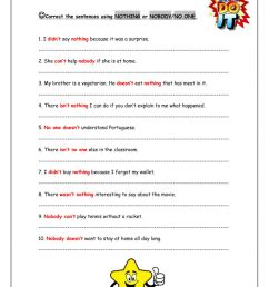 Negative Indefinite Pronouns worksheet [ 1413 x 1000 Pixel ]