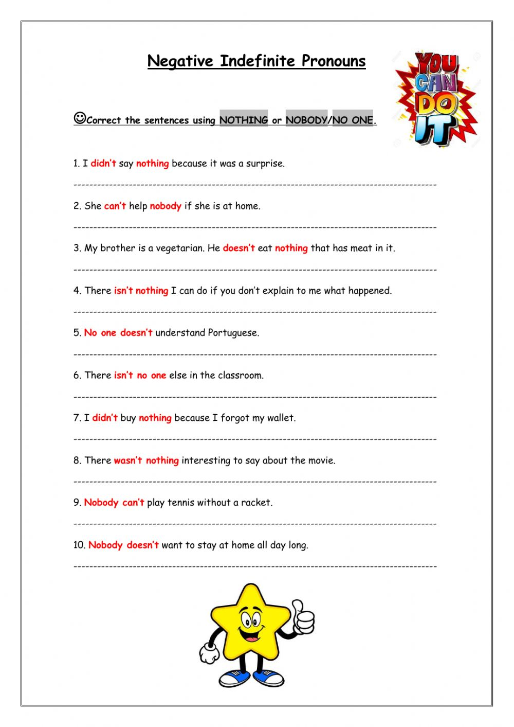 hight resolution of Negative Indefinite Pronouns worksheet