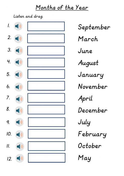 small resolution of Months of the Year worksheet for Grade 2