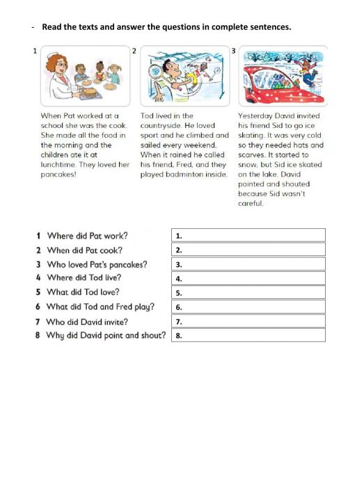 small resolution of Reading comprehension-Past Tense worksheet
