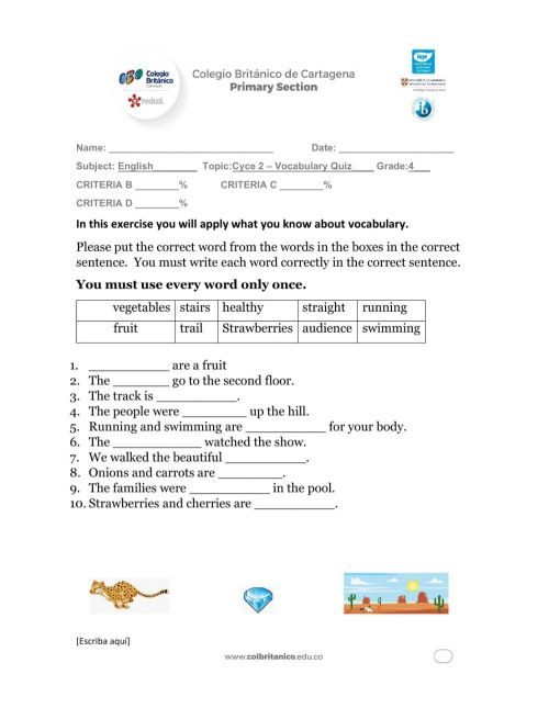 small resolution of Cycle 2 - Vocabulary worksheet