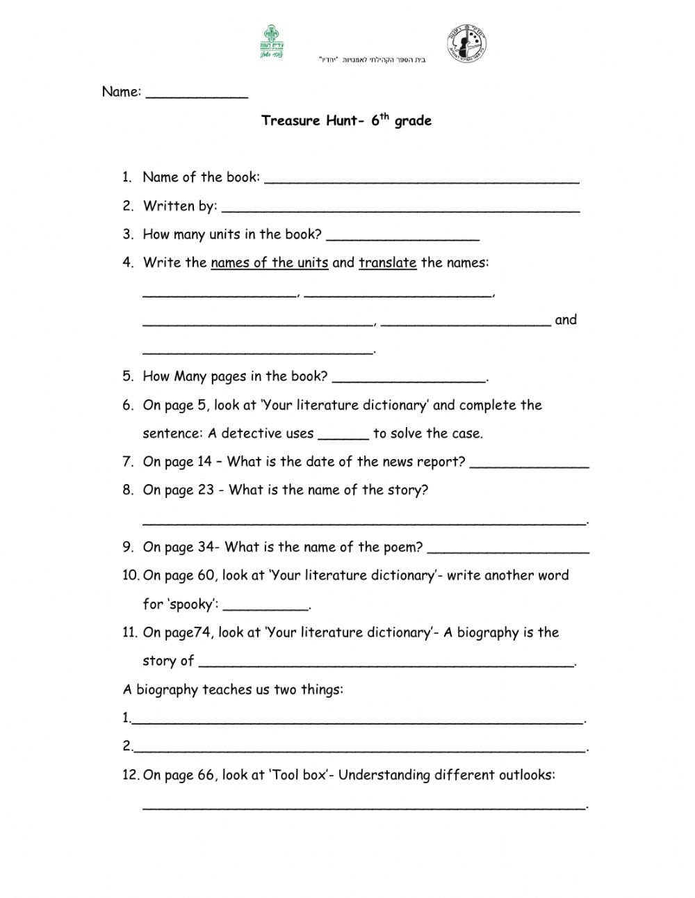 hight resolution of Treasure Hunt- 6th grade worksheet