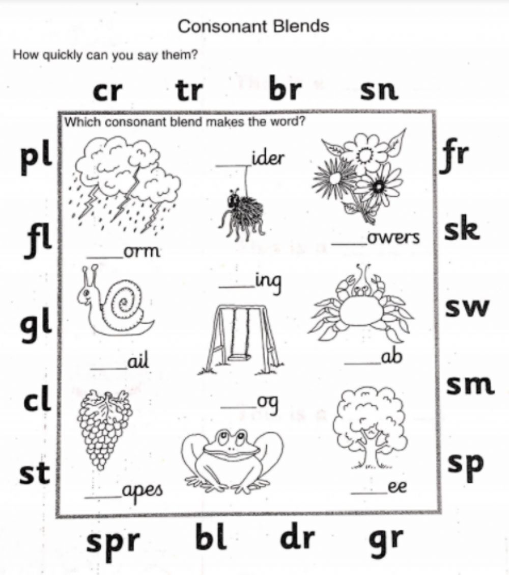 hight resolution of Consonant blends activity